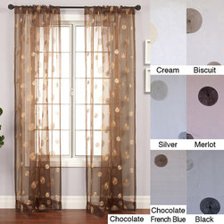 None - Dots Embroidered 96-inch Sheer Panel - If youd like to add eclectic style to your windows,these gorgeous embroidered sheer curtains could do the job. Made of a luscious nylon/polyester blend,they come in hues like merlot and copper,allowing you to pick the shade that matches your decor.