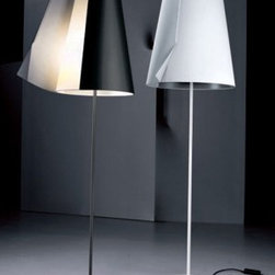 """Pallucco - Guardian of Light floor lamp - Product Details:   The Guardian of lightfloor lamp from Pallucco has been designed by Susanne Phillippsonin 2006. This floormounted luminaire is great for halogen lighting. The Guardian of lightis constructed of a polycarbonate shade which is available in black, aluminum grey or white. Liquid rubber coated metal makes up the structure of this fixture, which is also available in a black, white or aluminum grey finish. The Guardian of Light looks like a classic lampshade until it isswitched on, at which point you realize that the classical form conceals an innovative idea: the shade is a cloak that wraps around itself, keeping the magic of the light secret. When the cloak is opened, by means of the protruding flap, the lamp gently releases its light, which goes out again when the cloak is closed.The lamp has a """"soft start"""" feature so that it can be switched on and off automatically when the shade is opened and closed.The Guardian of Light floor lampexhibits a sophsticatedand innovativedesign, along with quality craftsmanship, that is sure tobrilliantlyilluminate any modern atmosphere.  Details:                                              Manufacturer:                                           Pallucco                                                              Designer:                                          Susanne Phillippson                                                              Made in:                                          Italy                                                              Dimensions:                                           Small: Height: 73.2""""(186cm)Width: 11.8""""(30 cm)              Large: Height: 82.7""""(210cm)Width: 15""""(38 cm)                                                                                          Light bulb:                                           Small and Large: 2 X 150W halogen                                                              Material:                      """