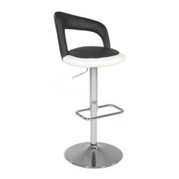 Chintaly Hadley Pneumatic Gas Lift Swivel Height Bar Stool - The Chintaly Hadley Pneumatic Gas Lift Swivel Height Bar Stool offers modern asymmetrical style with an upholstered, slightly diagonal back rest. The unique two tone seat design features a round bonded black leather inner circle, and a white bonded leather outer circle. It's a visual stand out with the sleek steel frame and foot rest finished in lustrous chrome.About Chintaly ImportsBased in Farmingdale, New York, Chintaly Imports has been supplying the furniture industry with quality products since 1997. From its humble beginning with a small assortment of casual dining tables and chairs, Chintaly Imports has grown to become a full-range supplier of curios, computer desks, accent pieces, occasional table, barstools, pub sets, upholstery groups and bedroom sets. This assortment of products includes many high-styled contemporary and traditionally-styled items. Chintaly Imports takes pride in the fact that many of its products offer the innovative look, style, and quality which are offered with other suppliers at much higher prices. Currently, Chintaly Imports products appeal to a broad customer base which encompasses many single store operations along with numerous top 100 dealers. Chintaly Imports showrooms are located in High Point, North Carolina and Las Vegas, Nevada.