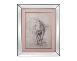 Bassett Mirror - Bassett Mirror Framed Under Glass Art, Antique Ballerina Study I - Antique Ballerina Study I