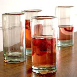 New Chunky Recycled Glassware - Drink responsibly. Solid and substantial, this chunky glassware is crafted from recycled glass and rimmed in dark brown. Ideal for serving cocktails, juice or water, the set is perfect for party toasts any time of the year. Cheers!