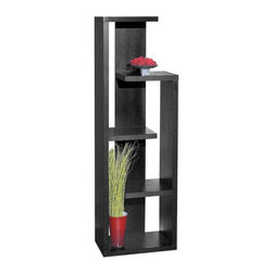 Sunpan Imports - Geneva Contemporary 5-Tier Display Shelf Matte Black Finish - Distinctive multi-level display case. Assembly required. 20 in. W x 12.5 in. D x 64 in. H