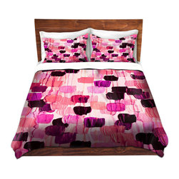 DiaNoche Designs - Duvet Cover Microfiber by Julia Di Sano - Flower Brush Pink - DiaNoche Designs works with artists from around the world to bring unique, artistic products to decorate all aspects of your home.  Super lightweight and extremely soft Premium Microfiber Duvet Cover (only) in sizes Twin, Queen, King.  Shams NOT included.  This duvet is designed to wash upon arrival for maximum softness.   Each duvet starts by looming the fabric and cutting to the size ordered.  The Image is printed and your Duvet Cover is meticulously sewn together with ties in each corner and a hidden zip closure.  All in the USA!!  Poly microfiber top and underside.  Dye Sublimation printing permanently adheres the ink to the material for long life and durability.  Machine Washable cold with light detergent and dry on low.  Product may vary slightly from image.  Shams not included.