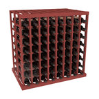 Double Deep Tasting Table Wine Rack Kit in Pine with Cherry Stain - The quintessential wine cellar island; this wooden wine rack is a perfect way to create discrete wine storage in open floor space. With an emphasis on customization, install LEDs or add a culinary grade Butcher's Block top to create intimate wine tasting settings. We build this rack to our industry leading standards and your satisfaction is guaranteed.