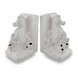 Zeckos - Ceramic Seahorse Bookends Glossy White Finish Set of 2 - Add a bit of elegant marine decor to your home, office or shop with this set of two bookends featuring a seahorse swimming in a patch of coral. With a glossy white finish, this set easily blends in with existing decor and adds a nautical highlight to the bookcase at the office, the shelf in your den or a dresser in the guest room. Crafted from ceramic, each piece measures 7.25 inch (18 cm) high, 5 inches (13 cm) long and 4.5 inches (11 cm) wide, and has foam pads on the bottom to help prevent scratching display surfaces. This set of 2 seahorse bookends makes a wonderful gift for a friend that loves to read and for fans of nautical decor