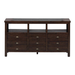 "Jofran - Jofran 087-60 60 Inch Media Unit with 6 Drawers and Rough Hewn Finish - This 60"" dining room and living room console will work as a TV stand or a decorative server creating a casual statement in dining rooms, kitchens and living areas. Crafted to reflect an urban style with a new traditional feel, this piece features six storage drawers for tucking away serving items and open compartments at the top for easy to reach storage or decorative display."