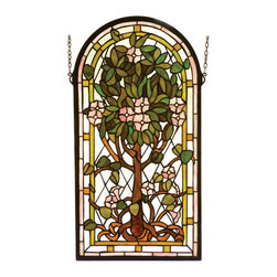 Meyda - 15 Inch W 29 Inch H Arched Tree of Life Windows - Color theme: Vaclt jaw avocado amber 59
