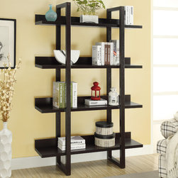 Monarch - Cappuccino 71in.H Open Concept Display Etagere - Upgrade your home with this unique rich cappuccino open display etagare. A great spot for family photo's, books, or nick nacks to display for all your guests. Sturdy and 71 in. High.