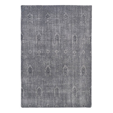 """Kaleen - Kaleen Restoration Collection RES01-75 9' x 12' Grey - The Restoration collection puts the finishing touches on a classic reproduction for some of the most unique rugs in the world. Hand-knotted in India of 100% wool, each rug is intentionally distressed by hand-shearing for authenticity, over-dyed colors for beautiful style, and complete with the smallest little details for the perfect replica of a vintage antique rug.  A 100% natural """"green"""" product and completely free of any latex materials."""