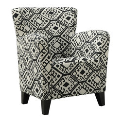 Monarch Specialties - Monarch Specialties Black Beige Abstract Fabric Club Chair - With its high back and curvaceous frame this club chair will be a stylish addition to any room in your home. A sinuous spring base and curved seat back provides supportive comfort while bold track arms and a deep slightly scooped seat surrounds you in modern style. Tapered block style wooden feet anchor the base of the chair enhancing the black/beige abstract-deco fabric.