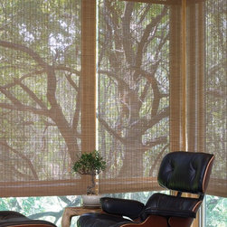 Examples of Motorized Natural Fiber Shades - Motorized Roman Blinds using a woven wood from Lutron Electronics