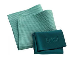 """E-cloth Window Cleaning Cloth - 2 Pack - Includes one(1)15.75""""x15.75"""" Window Cleaning Cloth and one (1)20""""x16"""" Glass and Polishing Cloth"""