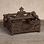 GG Collection Napkin Holder - The traditional scrollwork of this Gerson GG Collection Gracious Goods Napkin Holder is inspired by the casual elegance of Old-World serving piece designs. Crafted from durable cast aluminum in an antique brown finish, this traditionally styled napkin holder is a luxurious complement to formal and holiday dinner table arrangements.