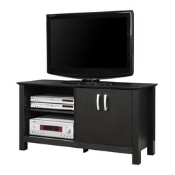 Walker Edison - Walker Edison 44 in. Cordoba Wood TV Console - Black X-LBSOC44W - Elegance and function combine to give this wood TV stand a striking appearance. This design creates a stylish look crafted from high-grade MDF and durable laminate that accommodates most flat-panel TVs up to 52 in. Ample storage space for A/V components and other media accessories with adjustable shelving and cabinet.Features:&#8226: Stylish, traditional design&#8226: Rich, black textured finish&#8226: High-grade MDF and laminate construction&#8226: Solid and sturdy design supports 250 lbs.&#8226: Accommodates most flat-panel TVs up to 52 in.&#8226: Adjustable shelving and storage&#8226: Ample storage space for A/V components&#8226: Ships ready-to-assemble with necessary hardware and tools&#8226: Assembly instructions included with toll-free number and online support