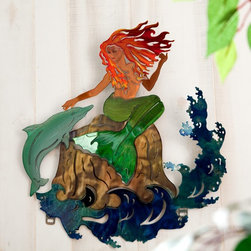 Next Innovations - Mermaid Indoor / Outdoor Light Reflective Wall Art Multicolor - WA3DMERMAID CB - Shop for Wall Art from Hayneedle.com! Experience a whole new dimension in art with the Mermaid Indoor / Outdoor Light Reflective Wall Art! Refraxion pieces are laser cut from 18-gauge steel powder-coated for rust resistance and durable enough to be used indoors or outdoors. Each piece is hand crafted. Each Refraxion piece has brackets on the back that allow the art to hang away from the wall. Plus they're designed with pieces that can be bent out to provide a 3-dimensional effect. This work of art is proudly made in the USA.About Next InnovationsWith their company headquarters and manufacturing facility in the beautiful north woods of Walker Minnesota Next Innovations employs an in-house design team and all products are engineered and produced on site. They are a young innovative company specializing in decorative home decor gift store and garden products. They have developed high-quality steel products with various finishing treatments making every product superior to others in the market. Next Innovations categories include: RefraXions Art 2 EyeCatchers Terra Decor Plant Hangers/Wall Brackets and Garden Stakes. Next Innovation's products are primarily created from 18-gauge cold rolled steel acid washed and powder coated for added rust-resistance. Color is applied through an infusion process to create a finish that won't fade or flake.
