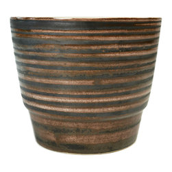 Lavish Shoestring - Consigned Brown Striped Flower Planter by Cinque Ports Pottery, Vintage English - This is a vintage one-of-a-kind item.