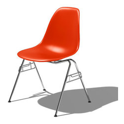 Charles & Ray Eames - Herman Miller Eames Molded Plastic Side Chair - Herman Miller Eames Molded Plastic Side Chair with Four-Legged Base  designed by Charles and Ray Eames      At A Glance:   With a clean, simple form sculpted to fit the body, the Molded Plastic Chair with Four-Legged Base was first presented at the Museum of Modern Art in 1948 and was the first plastic chair to be mass produced. The classic Eames molded plastic side chair with 4-leg base remains popular today for cafeterias, home offices, and dining areas. A clean, simple form sculpted to fit the body. Shells are recyclable polypropylene. The shell is dyed throughout so colors remain vibrant even after years of hard use. For extended comfort, the shell is connected to the base and legs by rubber shock mounts.      The current model looks exactly the same as the originals. It remains unupholstered, in keeping with the Eameses requirement that materials be expressed honestly and unselfconsciously. In fac