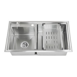 GOLDEN VANTAGE - GV 33-Inch Stainless Steel Handmade Kitchen Sink Top Mount W/Rinsing Basket - Our affordable handmade stainless steel kitchen sink offer the most improved quality that make us a good choice for any environment. With durability, bigger bowl capacity and also easy to take care of, because the metal imparts a rich glow and adds corrosion resistance it will never get rusted, we use T-304 stainless steel and heavy duty sound deadening pads on all of our GV sinks.