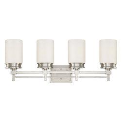 Nuvo Lighting - Nuvo Lighting 60-4704 Wright 4-Light Vanity Fixture with Satin White Glass - Nuvo Lighting 60-4704 Wright 4-Light Vanity Fixture with Satin White Glass