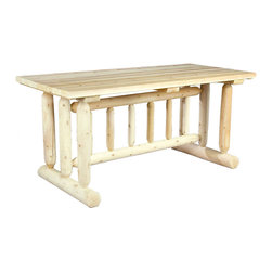 Rustic Natural Cedar - Rustic Natural Cedar 020021C Harvest Table Family Dining - Our rugged log-style Harvest table seats six comfortably. The strong, straight lines of the cedar spindles are a subtle nod to the Mission style of furniture popularized in the 1900s. Sanded to an ultra smooth finish and virtually maintenance-free, the table and matching chairs may be purchased as sets or individually.