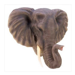 n/a - noble elephant wall decor - Dress up a dull room with this lifelike sculpture plaque!  Lovingly detailed re-creation of nature's gentle giant is a breathtaking addition to any area.  Polresin.  May require additional freight.