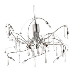 Dainolite - 5 Light Crystal Chandelier Polished Chrome/Satin Chrome Finish - -Main Body Material: Crystal
