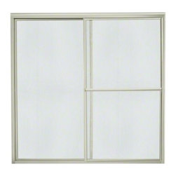 """STERLING PLUMBING - STERLING Deluxe Sliding Bath Door - Height 56-1/4"""", Max. Opening 57-3/4"""" - Enjoy distinctive styling, many glass pattern and texture options, along with dependable, quiet operation.  The Deluxe Framed Sliding doors offer variety to match any decor."""