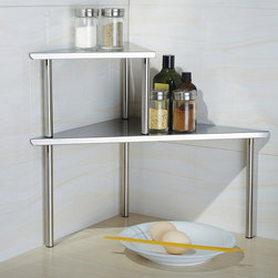 Cook N Home - Cook N Home 2-Tier Corner Storage Shelf,Stainless Steel - This stainless-steel corner storage shelf looks great in a commercial or home kitchen,and it helps maximize every inch of counter space. The two-tier design provides sufficient storage for your spices,vegetables,and cooking utensils.