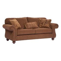 Broyhill Furniture - Cierra Traditional Style w Cherry Stain Finish Fabric Sofa - Cierra Collection Sofa