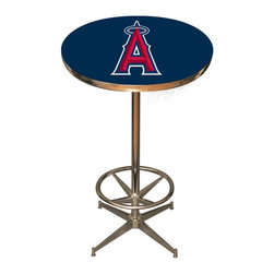 Imperial International - Anaheim Angels MLB Pub Table - Check out this awesome pub table. It's perfect for your Man Cave, Game Room, Home Bar, or anywhere you want to show love for your favorite team. It has a disco style steel base with leg levelers and foot ring.