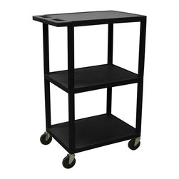 Luxor Furniture - 41 in. Utility Cart w 3 Shelves in Black - High density polyethylene structural foam molded plastic shelves. Legs that won't stain, scratch, dent or rust. Retaining lip around the back and sides of flat shelves. Push handle molded into the top shelf. Four heavy duty 4 in. casters, two with brake. Shelves reinforced with two aluminum bars. Clearance between shelves: 16 in.. Made from polyethylene, plastic and aluminum. Minimal assembly required. Made in USA. 24 in. L x 18 in. W x 41 in. H. Warranty