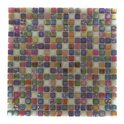 "Whimsical Fairy Dust Glass Tile - Whimsical Fairy Dust Glass Tile Add a pop to any room with these beautiful tiles that are versatile; great to use for back splash for a kitchen or a fireplace. This tile is great to use for the bathroom, kitchen or pool installation. Chip Size: 5/8"" x 5/8"" Color: Iridescent, Orange, Purple, Light Brown Glass Finish: Polished and Textured Sold by the Sheet - each sheet measures 11 3/4"" x 11 3/4"" (0.96 sq. ft.) Thickness: 4mm Please note each lot will vary from the next."