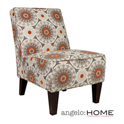 ANGELOHOME - angelo:HOME Dover Cafe Brown Garden Wheel Armless Chair - The angelo:HOME Dover armless accent chair was designed by Angelo Surmelis. The Dover armless upholstered chair features a curved square broad back, no sag springs, deep seat cushion and thick foam cushion for extraordinary comfort.