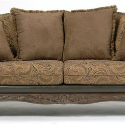 Chelsea Home - Serta Ronalynn Sofa - Traditional style. Base upholstered in san marino chocolate poly cotton blend. Back pillows in silas raisin with kent fringe. Contrasting pillows in sienna chocolate. 53% rayon, 33% polyester and 14% cotton. Leggett and platt sinuous springs. Made from hardwood, softwood and engineered wood products. Made in USA. Seat width: 66 in.. Seat depth: 22 in.. Seat height: 22 in.. Overall: 93 in. L x 38 in. W x 40 in. H (165 lbs.)The Serta Ronalynn collection provides a testament to who you are and everything you�۪ve worked for. Its rich, traditional styling exudes classic elegance and will provide an unsurpassed level of comfort and styling to any living room area. Whether you�۪re spending quiet time with family or entertaining guests, the Serta Ronalynn collection�۪s elegant royal style and earth-tone colors will extend an open invitation for everyone to relax between its plush, rolled arms and settle back onto its soft, Kent Fringe Siena Chocolate contrasting throwback pillows.