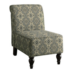 Monarch Specialties - Monarch Specialties 8124 Fabric Traditional Accent Chair in Turquoise - What could be classier than the stateliness of this elegantly designed transitional accent chair. Bring this rich blue tapestry fabric to life with this transitional armless chair, featuring a historically-inspired allure. A calm soft tapestry blue fabric enlivens the playful pattern and provides a tempting respite from your daily rush. Enjoy this chair in the comforts of any room in your home.