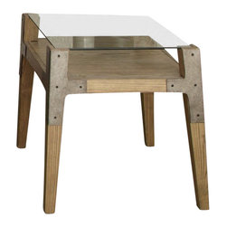 Liberty Furniture - Liberty Furniture Loire 27x24 Rectangular End Table in Natural - French antique in a contemporary style. Lay on glass tops combined with a rustic natural base and corner metal plate accents. What's included: End Table (1).