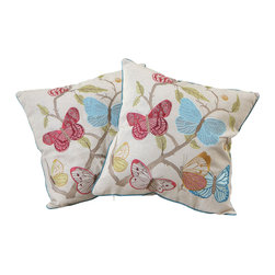 Best Selling Home Decor - Butterflies and Flowers Pillows, Set of 2 - Give your home an update with this attractive pillow set. These pillows feature a linen blend cover for soft elegance. Set includes: Two pillows; Pattern: Butterfly Flowers; Color options: Green, Red, Blue, Orange; Cover closure: Hidden zipper closure; Edging: Knife edge; Pillow shape: Square; Dimensions: 18 inches wide x 18 inches long; Cover: Linen Blend; Fill: 100-percent Polyester; Care instructions: Spot clean with a damp cloth.