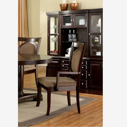 2 PC Formal Walnut Wood Dining Arm Chairs Fabric Seat CM3418AC - Features