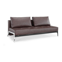 Lifestyle Solutions - Denmark Euro Lounger Brown - Easily converts from sofa to bed position in seconds. 2 Seat function - Sofa and Bed Position. Construction: steel frame, steel legs. Metal legs in Chrome finish. Durable construction. Seal Brown Genuine Bonded Leather. Fully upholstered. 2 Pillows included. Pocket coil inner springs. Clean with damp cloth. 55.9 in. W x 81.1 in. L x 15.7 in. H (146.1 lbs.). Flat: 38.2 in. W x 81.1 in. L x 32.3 in. H The Denmark is a truly luxurious convertible, comfort combined with quality materials and a durable construction promises continuing pleasure from this stylish lounger.. This multi-position sofa converts within seconds into either a lounge or bed position with minimal effort.