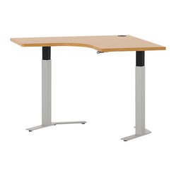 Hon - Systems Height-Adjustable Corner Table - Go stand in the corner! This space-saving, curved work station is made to fit in the seldom-used edges of a room, and comes in two widths. And, with the touch of a button, the adjustable base goes from sitting to standing height — now you can customize it to your work habits.