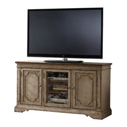 Hooker Furniture - Entertainment Console 62 1/4in 500-55-212 - Two wood doors with two adjustable shelves behind each; one wood-framed door with seeded glass or wood panel option and two adjustable shelves behind; one three plug outlet