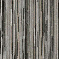 Black Silver And Beige Abstract Striped Contract Upholstery Fabric By The Yard - P3052 is great for residential, commercial, automotive and hospitality applications. This contract grade fabric is Teflon coated for superior stain resistance, and is very easy to clean and maintain. This material is perfect for restaurants, offices, residential uses, and automotive upholstery.