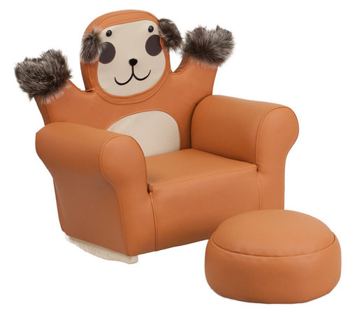 Flash Furniture - Flash Furniture Kids Monkey Rocker Chair and Footrest - Kids will now get to enjoy furniture designed specifically for their size! This monkey themed chair will be a charming piece of furniture that your child is sure to love. This portable chair is great for seating in any room. The vinyl upholstery ensures easy cleaning after accidents or for quick wipe offs.