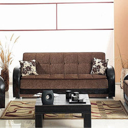 None - Utica Sofa Loveseat Living Room Set - This traditionally styled living room set is made with premium crocodile-like bi-cast leather and quality brown fabric. This set includes a convertible sofa bed, loveseat and chair.