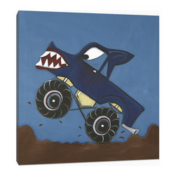 "Doodlefish - Monster Truck - This Doodlefish Artwork is an 18""x 18"" Stretched Canvas of a Monster Truck on a washed royal blue background. The artwork is gallery wrapped around the edges of the canvas so it is ready to hang. Personalization is available and will be placed on the side of the truck space permitting.  This artwork is also available mounted in a painted frame of your choice.    The finished size of the mounted piece is approximately 22""x22""."