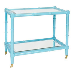 Worlds Away - Worlds Away Palm Turquoise Bar Cart - Worlds Away touches the home with marvelous modern treasures inspired by vintage finishes, patterns and styles. Bamboo detailing along this rectangular bar cart's wooden frame delivers the eclectic furnishing a playful Palm Beach vibe. Set atop brass wheels for easy mobility and added functionality, the storage piece's lacquered turquoise shade brightens living rooms and dining rooms with shiny contemporary color. Two beveled mirror shelves lend the cart classic display surfaces. Wheels do not lock.