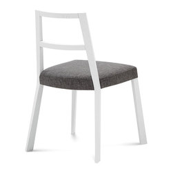 DomItalia Furniture - Torque White Matt Lacquered Chair with Ikarus Grey Seat (Set of Two) - For kitchen, modern kitchen, country-style kitchen, sitting room, living-room, modern living-room, country-style living-room, basement recreation room, Domitalia Torque Chair has ash wood structure and padded seat that will keep any space in comfort. This chair is available in ash wood structure and seat covered with Ikarus Grey fabric.