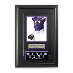 """Heritage Sports Art - Original art of the NFL 2000 Baltimore Ravens uniform - This beautifully framed piece features an original piece of watercolor artwork glass-framed in an attractive two inch wide black resin frame with a double mat. The outer dimensions of the framed piece are approximately 17"""" wide x 24.5"""" high, although the exact size will vary according to the size of the original piece of art. At the core of the framed piece is the actual piece of original artwork as painted by the artist on textured 100% rag, water-marked watercolor paper. In many cases the original artwork has handwritten notes in pencil from the artist. Simply put, this is beautiful, one-of-a-kind artwork. The outer mat is a rich textured black acid-free mat with a decorative inset white v-groove, while the inner mat is a complimentary colored acid-free mat reflecting one of the team's primary colors. The image of this framed piece shows the mat color that we use (Purple). Beneath the artwork is a silver plate with black text describing the original artwork. The text for this piece will read: This original, one-of-a-kind watercolor painting of the 2000 Baltimore Ravens purple uniform is the original artwork that was used in the creation of this Baltimore Ravens uniform evolution print and tens of thousands of other Baltimore Ravens products that have been sold across North America. This original piece of art was painted by artist Nola McConnan for Maple Leaf Productions Ltd.  2000 was a Super Bowl winning season for the Baltimore Ravens. Beneath the silver plate is a 3"""" x 9"""" reproduction of a well known, best-selling print that celebrates the history of the team. The print beautifully illustrates the chronological evolution of the team's uniform and shows you how the original art was used in the creation of this print. If you look closely, you will see that the print features the actual artwork being offered for sale. The piece is framed with an extremely high quality framing glass. We h"""