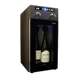 Vinotemp - Two Bottle Wine Dispenser - Our 2 Bottle Wine Dispenser makes it easy to serve and preserve two open bottles of red or white wine. With straightforward push button controls, you can easily pour a perfect glass of chilled wine at the touch of a button. Vinotemp's 2 Bottle Wine Dispenser is perfect for restaurants and clubs as it preserves open wine bottles for several weeks or would be a welcome addition to any wine connoisseur's home.