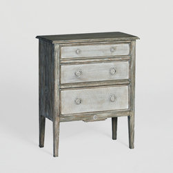 Holly Chest by Gabby - A rescued French side table inspired the distressed beauty of this petit three-drawer chest. Painted burlap front drawers provide storage while adding style and elegance. Place the bedside table in your master suite for a softening accent.